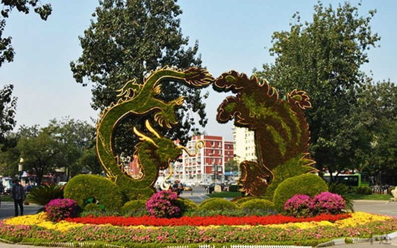 简阳公园五色草造型